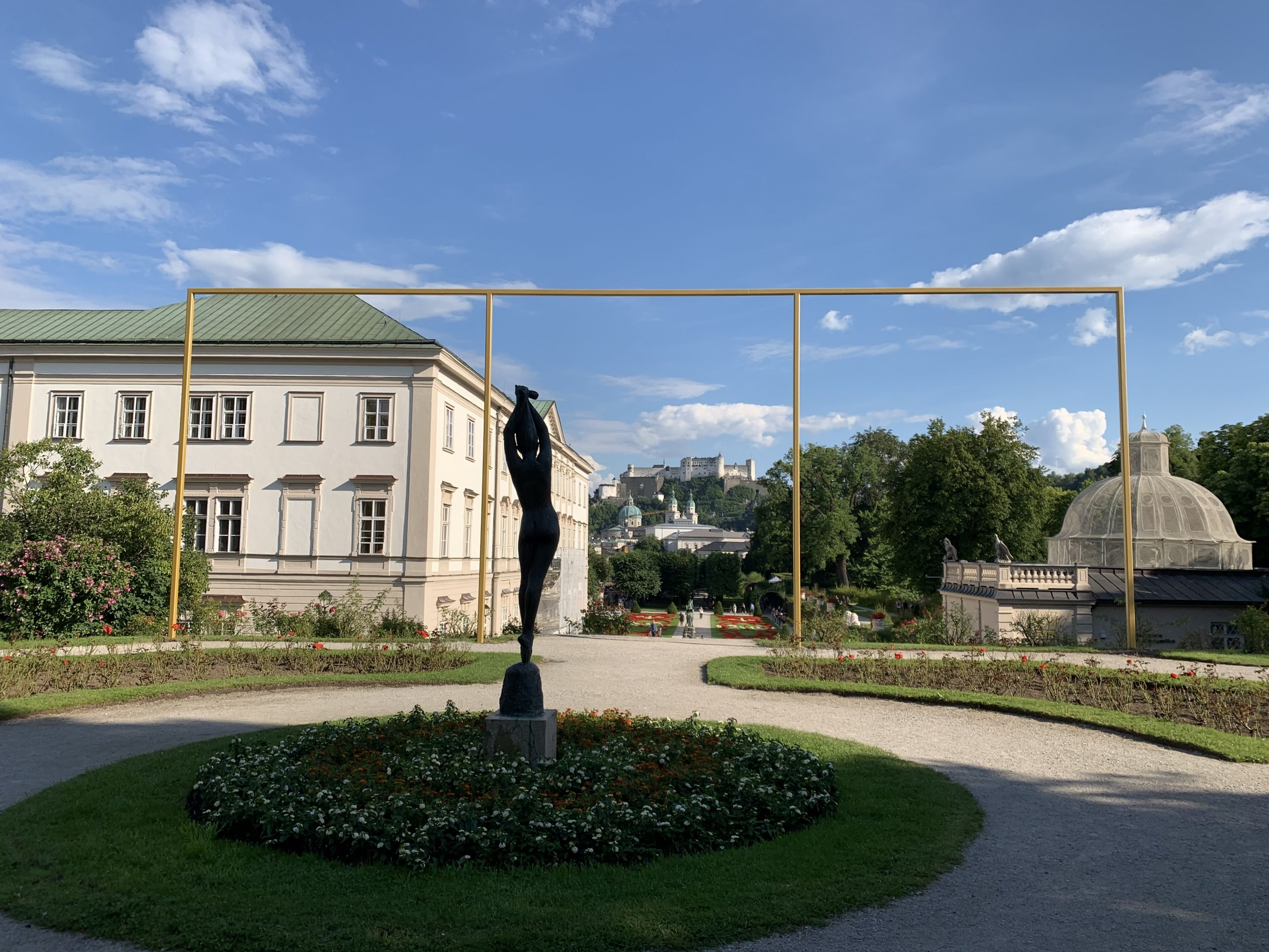 Intervention by Isa Rosenberger: a tripartite frame on the site of Clemens Holzmeister's proposed Festival theater (1950-51) in the Mirabell Gardens. Photo credit: Katherine Baber
