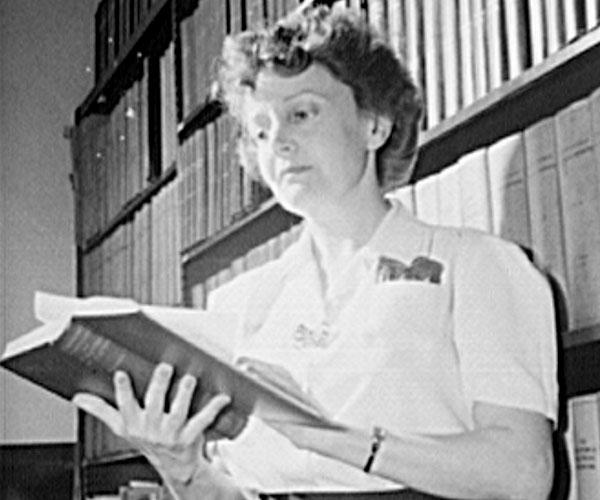 Mrs. Joan Fertig, Hungarian-born librarian in Pittsburgh, PA, 1943